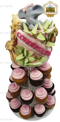 Congratulations Tower Cake with cupcakes