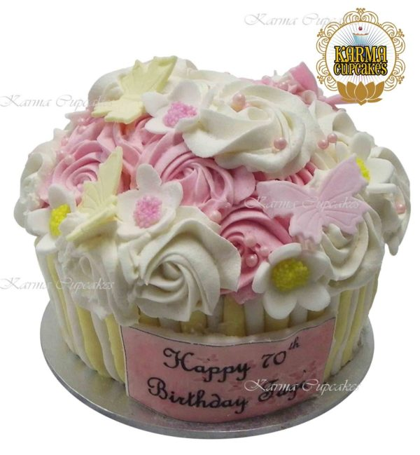Giant Cupcake with Butterflies and Flowers - choose your colour/s