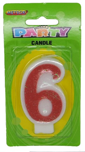 Numeral Candle 6 - Pink Glitter