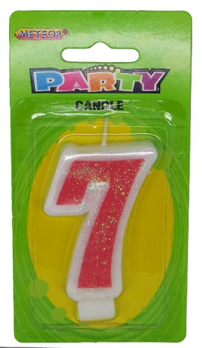 Numeral Candle 7 - Pink Glitter