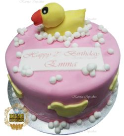 Yellow Duck with Bubbles Buttercream Iced Cake - choose your icing colour