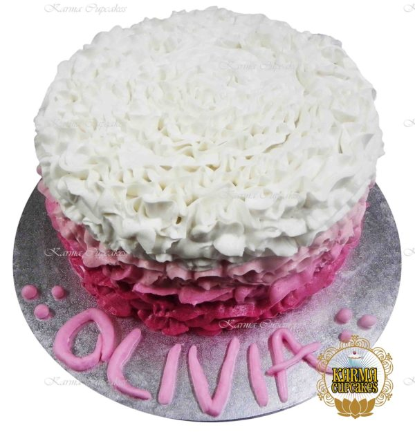 "8"" Ombre Ruffle Buttercream Cake with Iced Name and Board - Choose your colour"