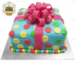 3D Polka Dot Birthday Present Cake