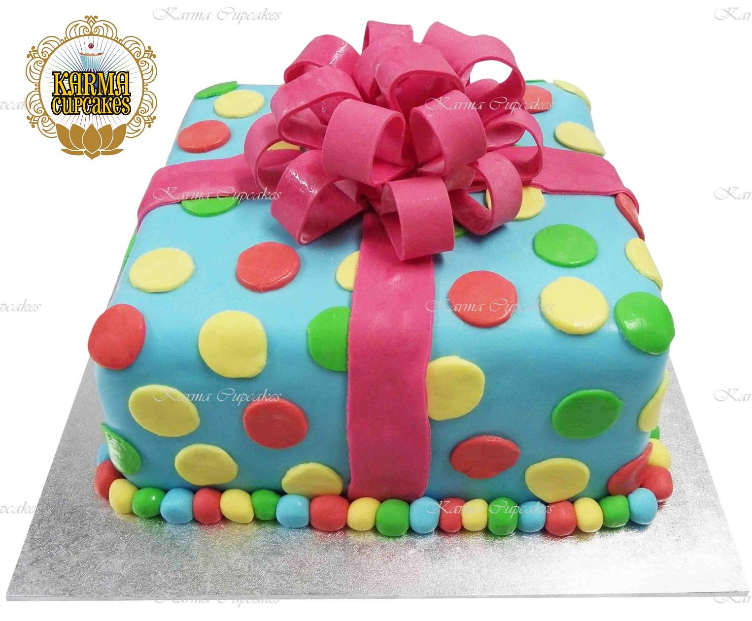 Magnificent 3D Polka Dot Birthday Present Cake Funny Birthday Cards Online Necthendildamsfinfo