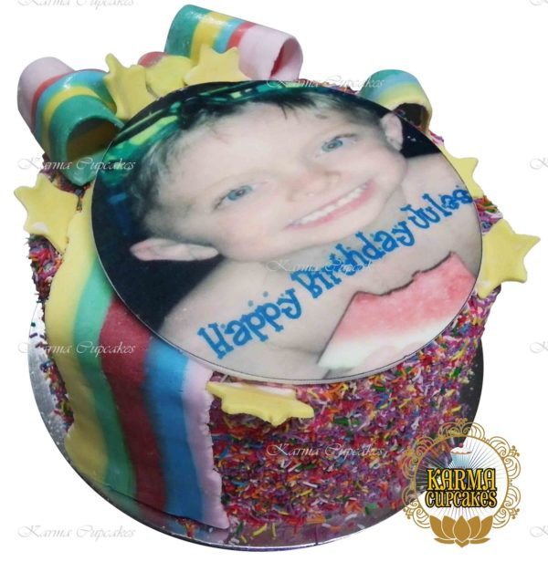 Rainbow Gateaux with Large Edible Image