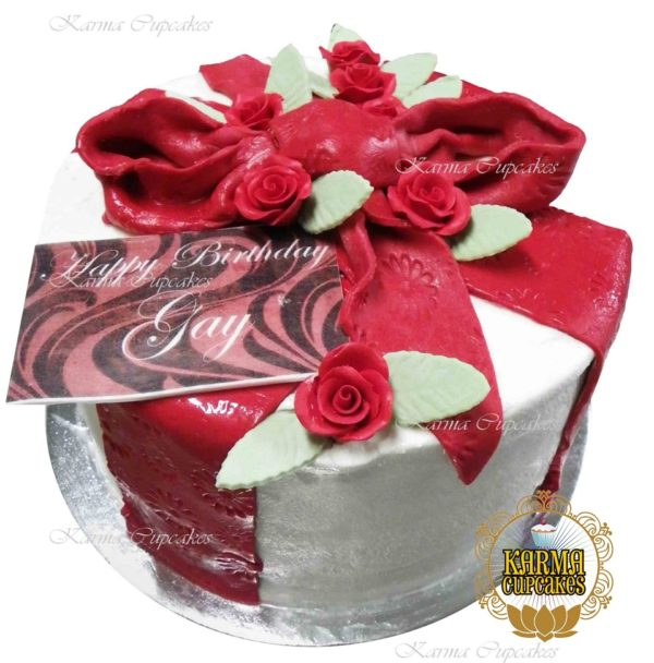 """8"""" Sugar Ribbon Cake with edible flowers - choose your colour/s"""