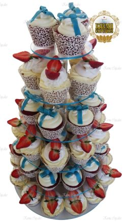 Strawberry Cheesecake Cupcake Tower