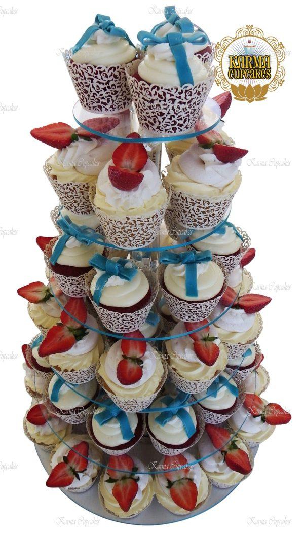 Strawberry Cheesecake Cupcake Tower