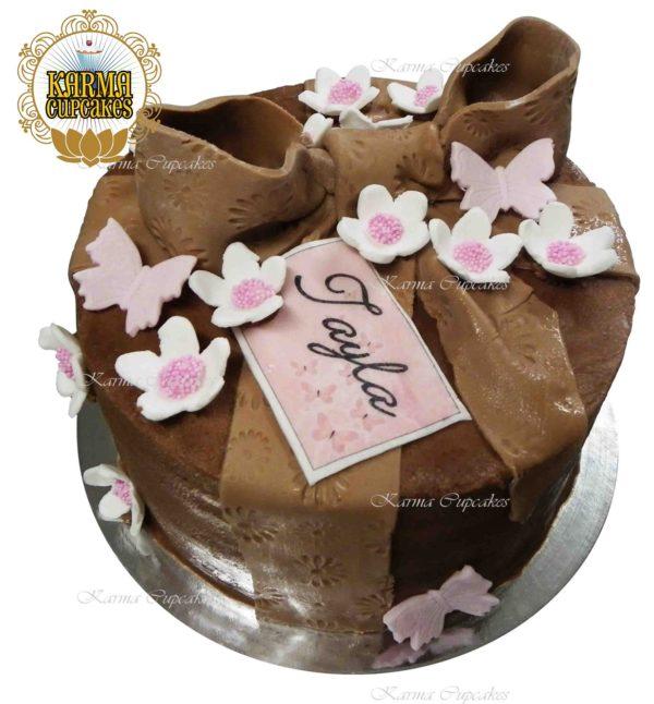 "8"" Chocolate Vegan Ribbon Bow Cake"