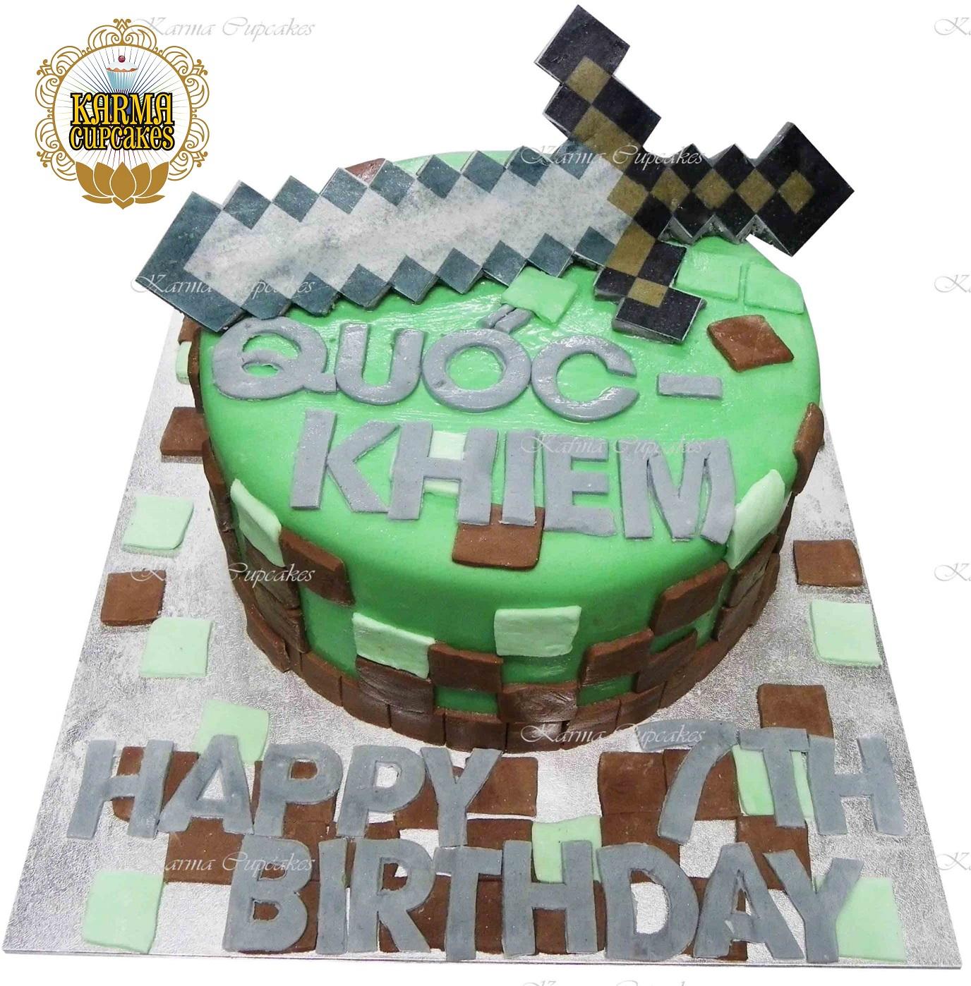 Admirable Minecraft Birthday Cake On A Silver Masonite Board Funny Birthday Cards Online Necthendildamsfinfo