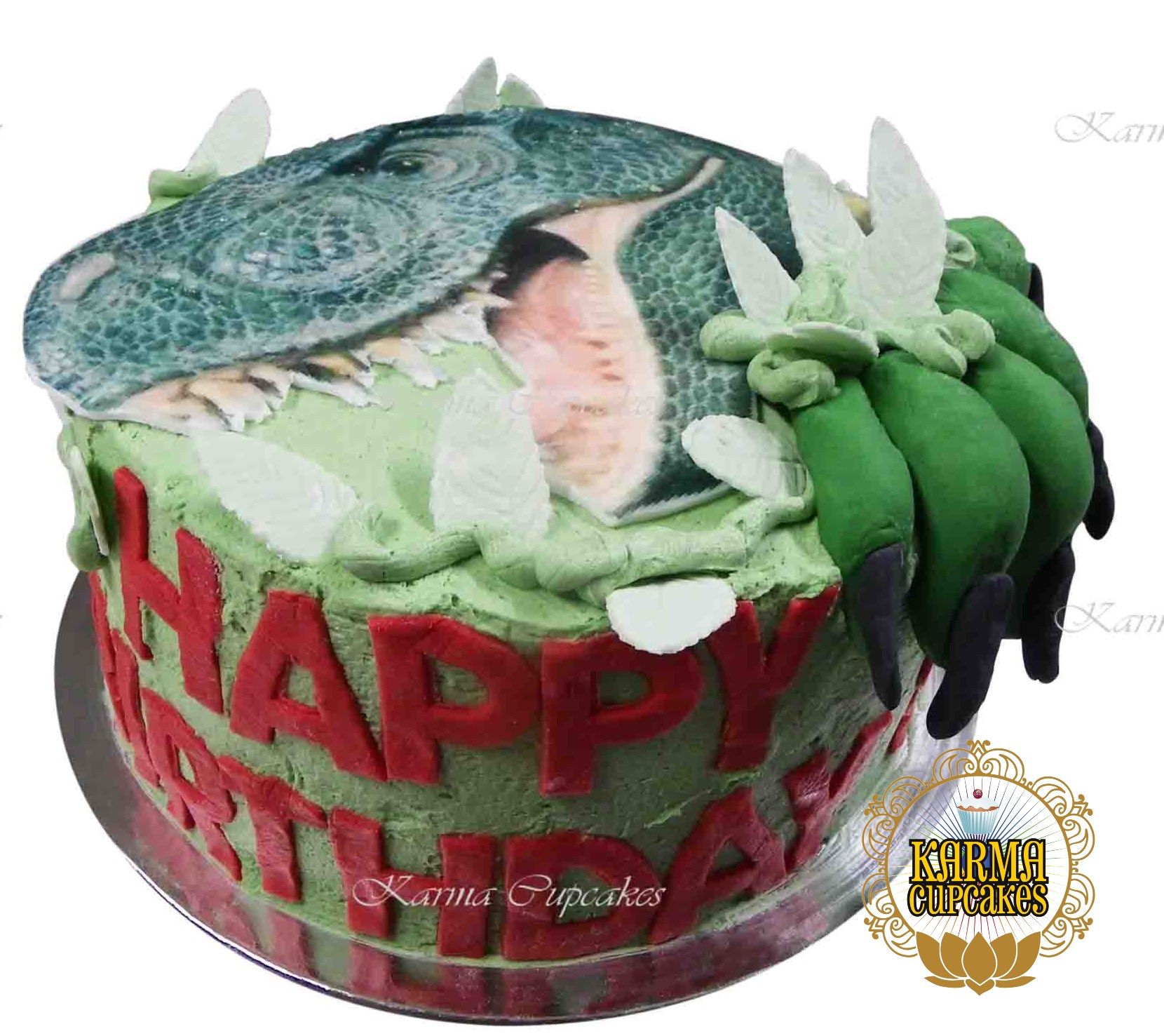 Surprising Dinosaur Birthday Cake With 3D Foot And Edible Leaves Funny Birthday Cards Online Inifodamsfinfo