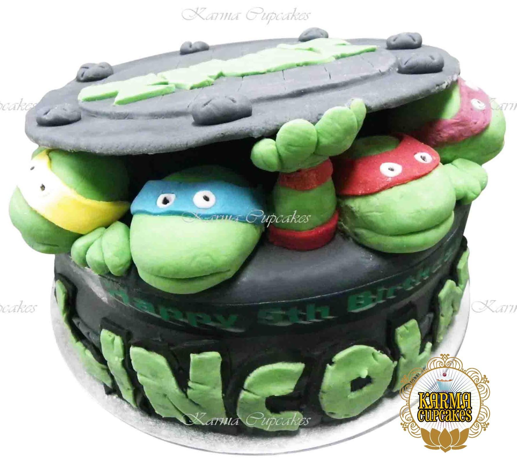 Groovy 8 Fondant Iced Teenage Mutant Ninja Turtles Cake Funny Birthday Cards Online Elaedamsfinfo