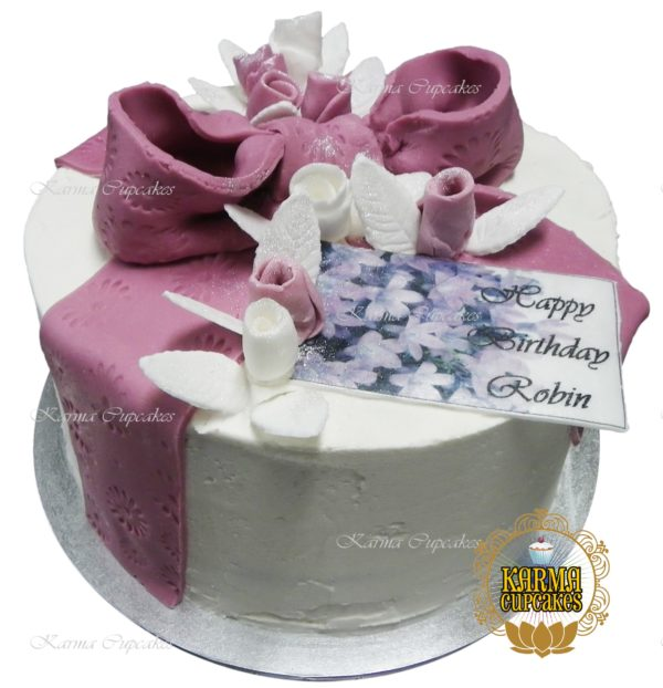 "8"" Sugar Ribbon Cake with edible flowers - choose your colour/s"