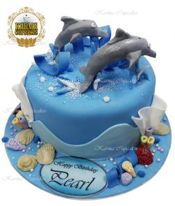 3D Dolphins under the Sea cake