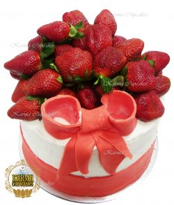 "8"" Sugar Ribbon Cake with Strawberries"