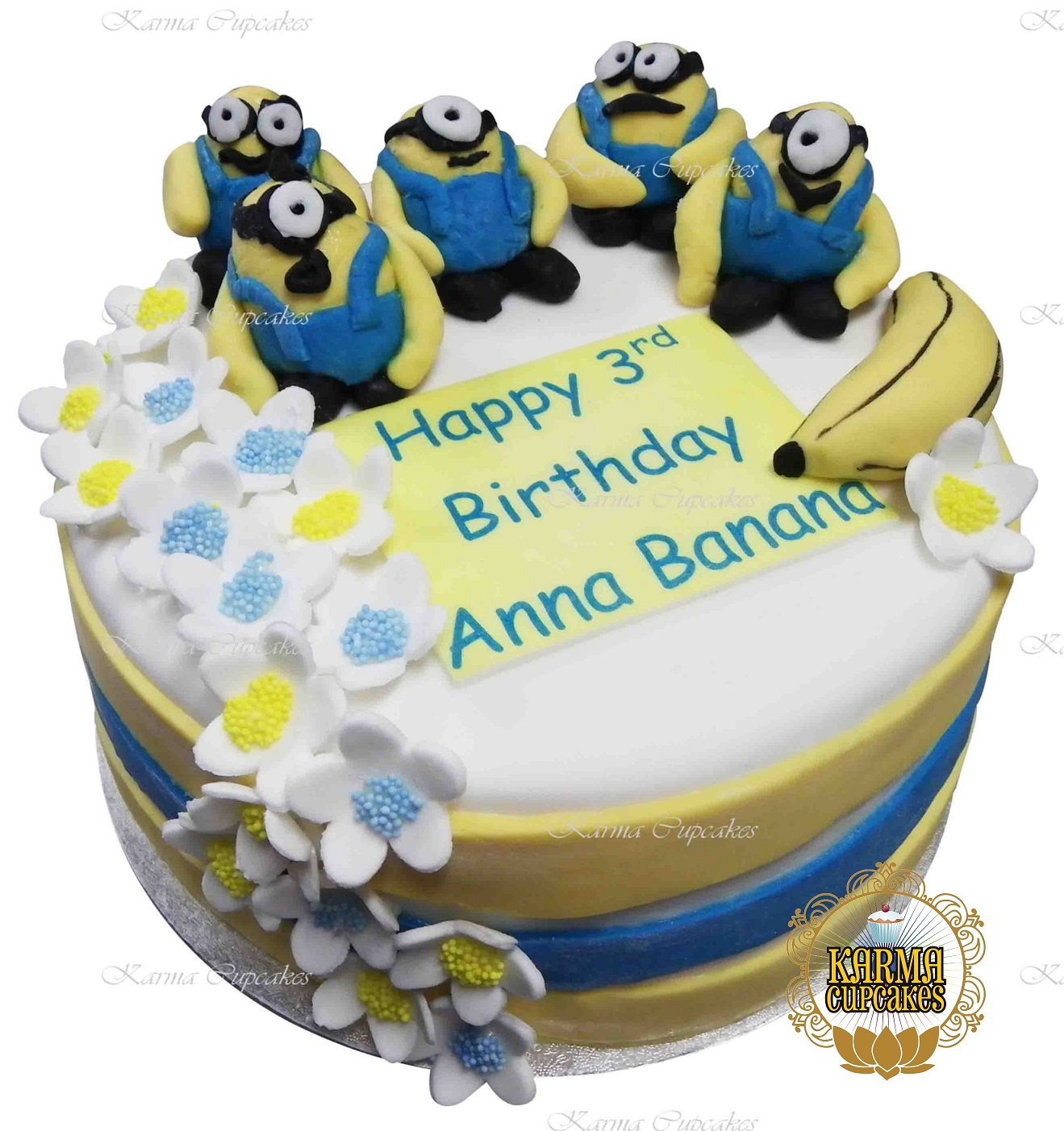Swell Minions Buttercream Iced Birthday Cake With Sugar Flowers Funny Birthday Cards Online Fluifree Goldxyz