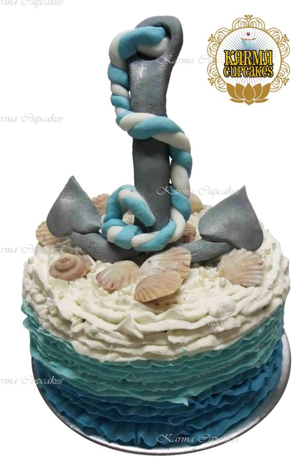 Ombre Ruffle Cake topped with Anchor and Shells