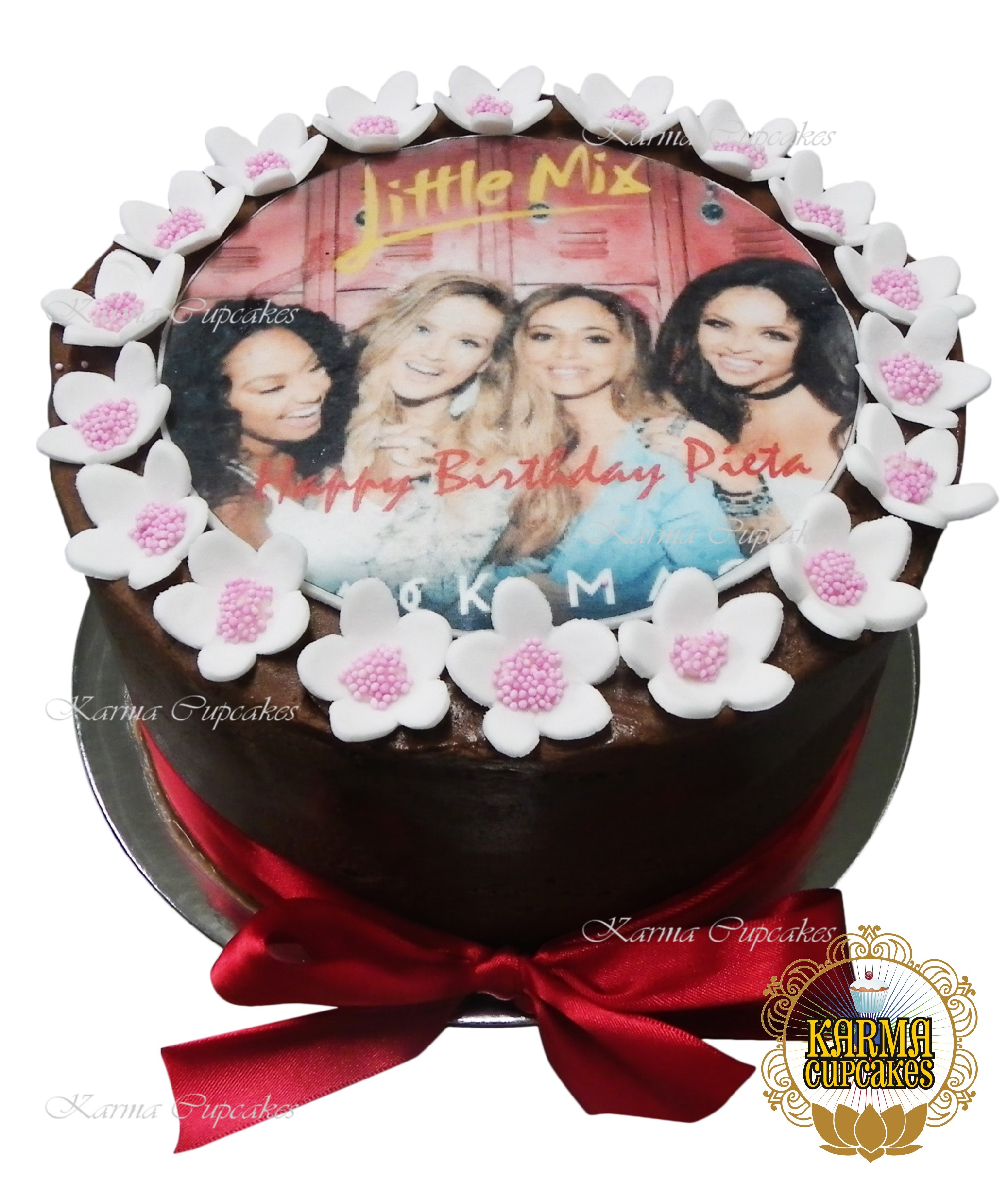 Remarkable 8 Inch Buttercream Iced Cake With Edible Image And Sugar Flowers Personalised Birthday Cards Sponlily Jamesorg