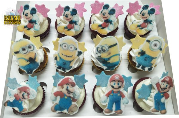 Minions, Mickey Mouse and Mario Cupcakes - choose your characters