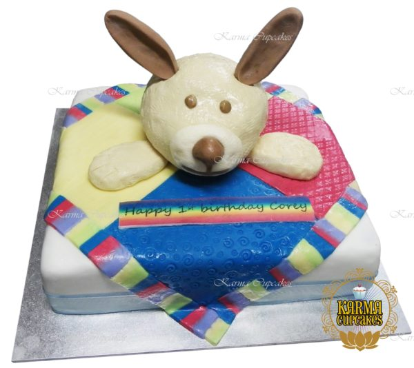 Teddy Bear with Blanket Birthday Slab Cake