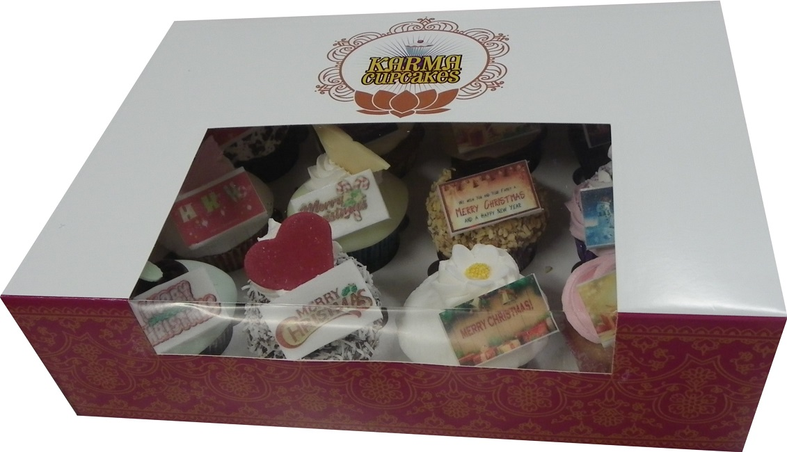 Mystery box of 12 Christmas Cupcakes with a message
