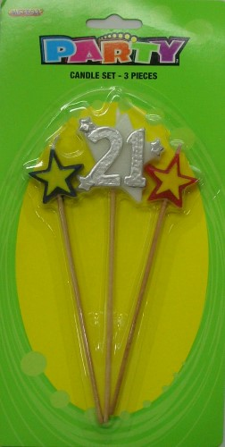 Number 21 Silver Candle Set