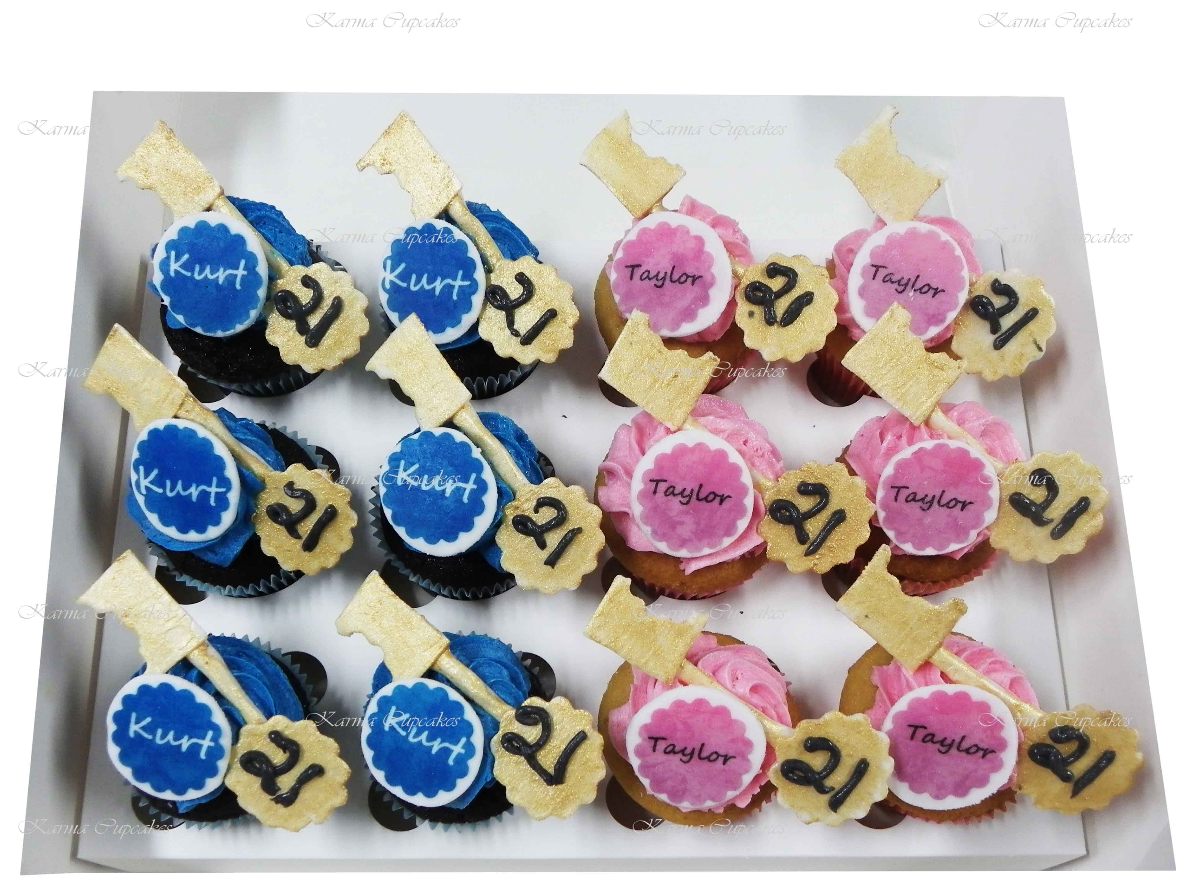 21st Birthday Cupcakes with Handmade Keys and Edible Name Plagues
