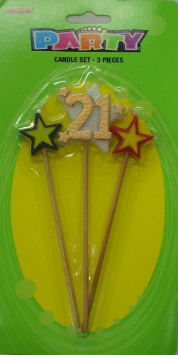Number 21 Gold Candle Set