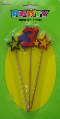 Number 3 Candle Set