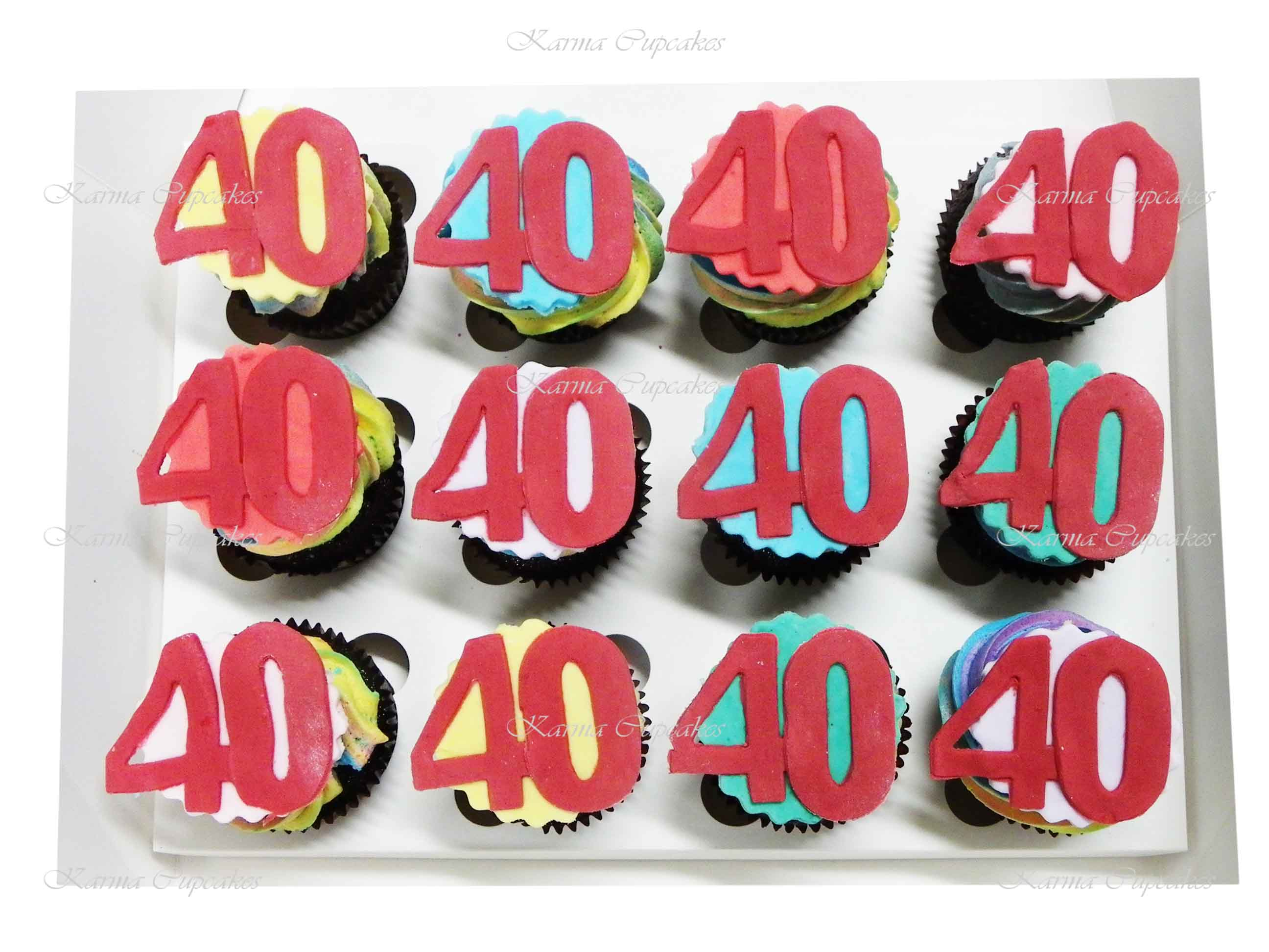 Birthday Cupcakes with Fondant Handcut Number - choose your own colours