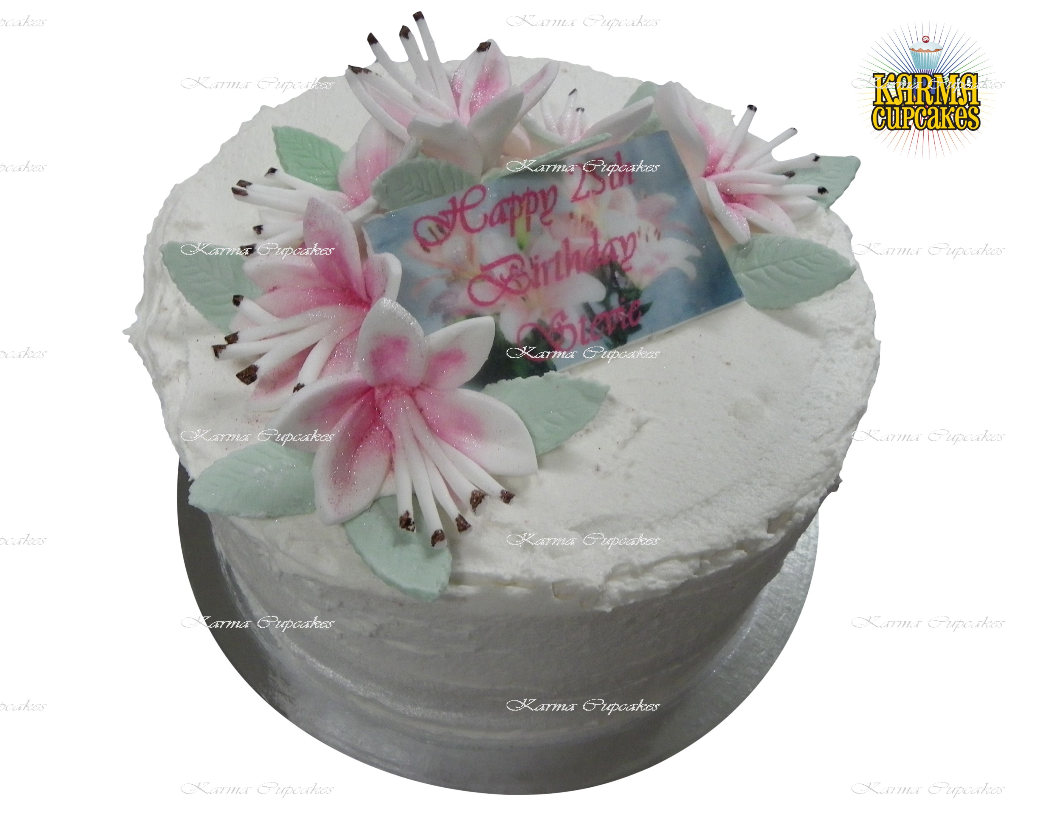 """8"""" Cake with Edible Lilies and Name Plague"""