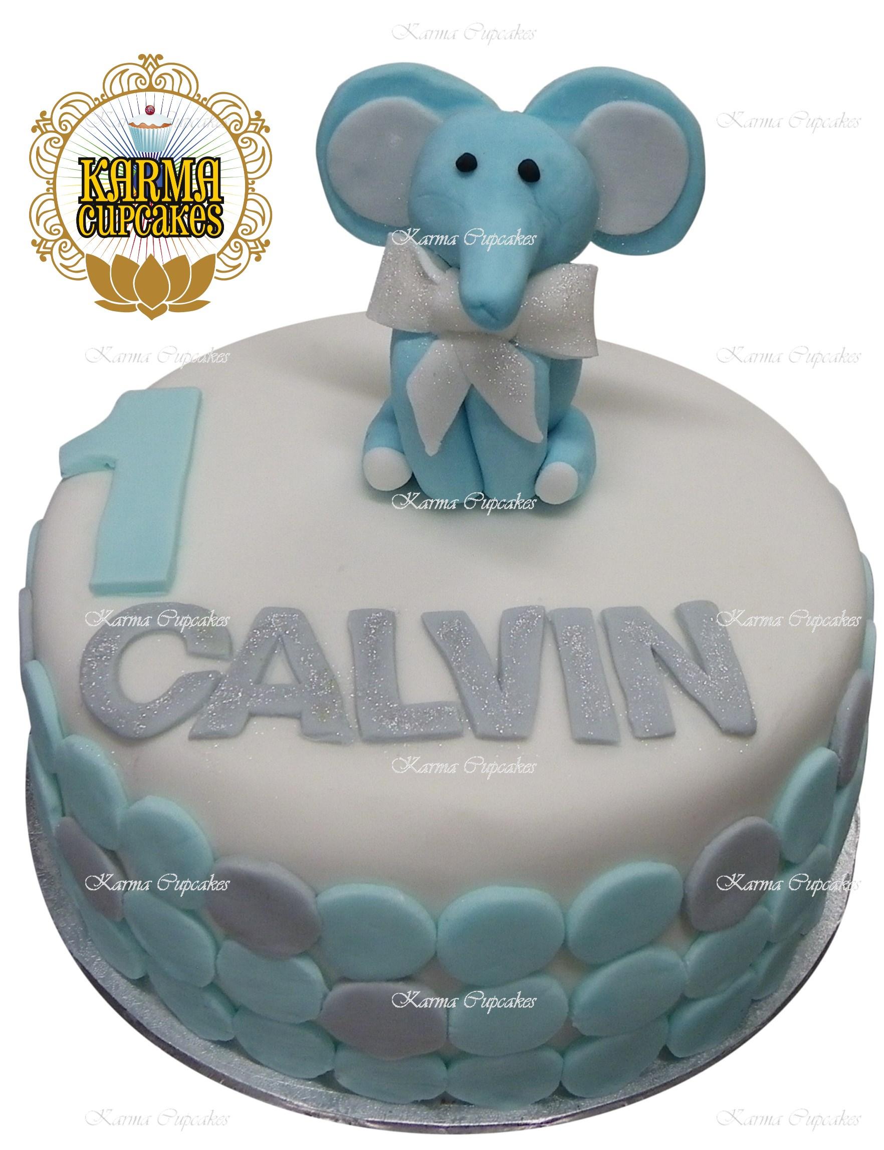 Children's Birthday Cake with Elephant