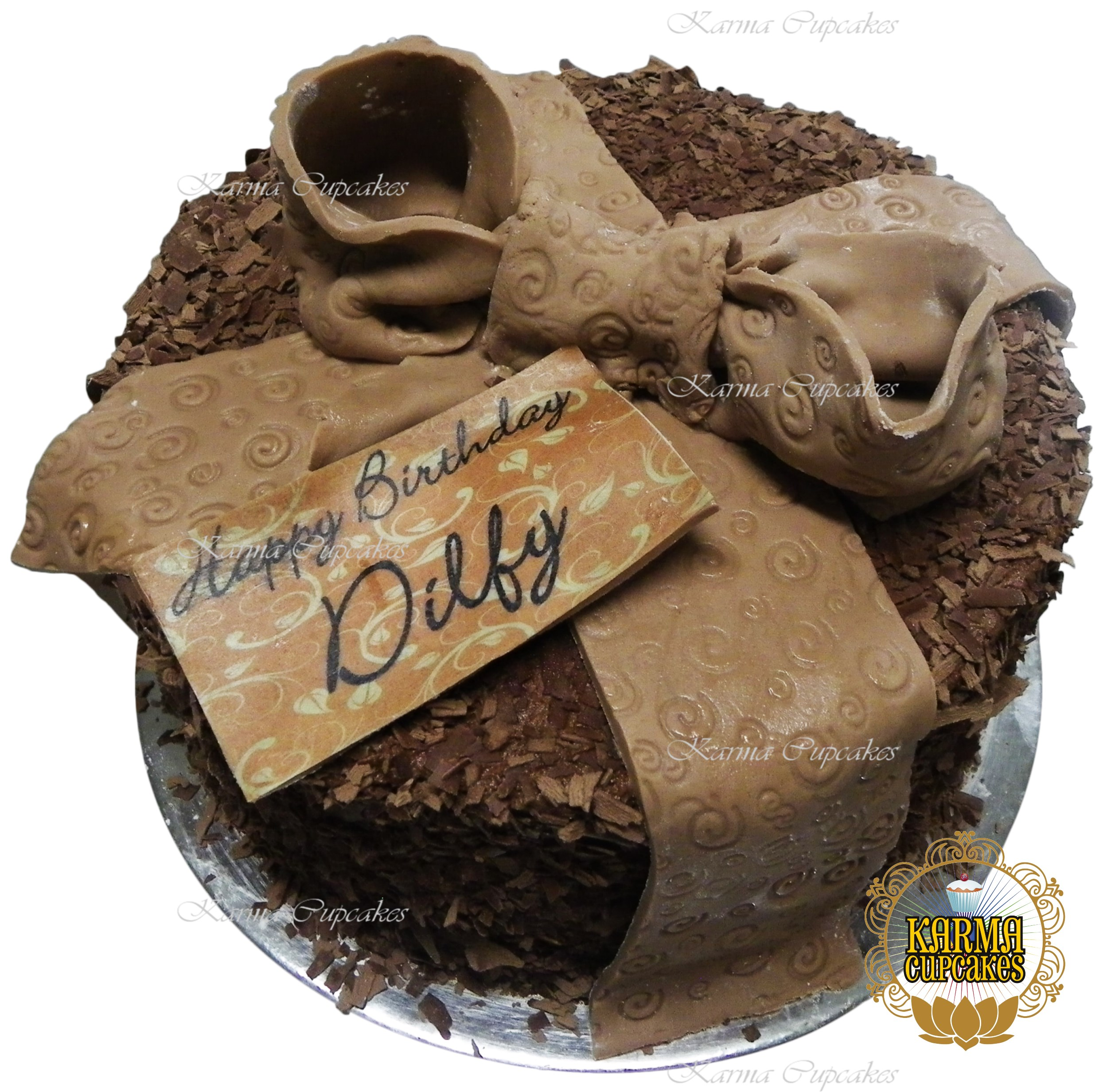 "8"" Sugar Ribbon Cake with chocolate shards"