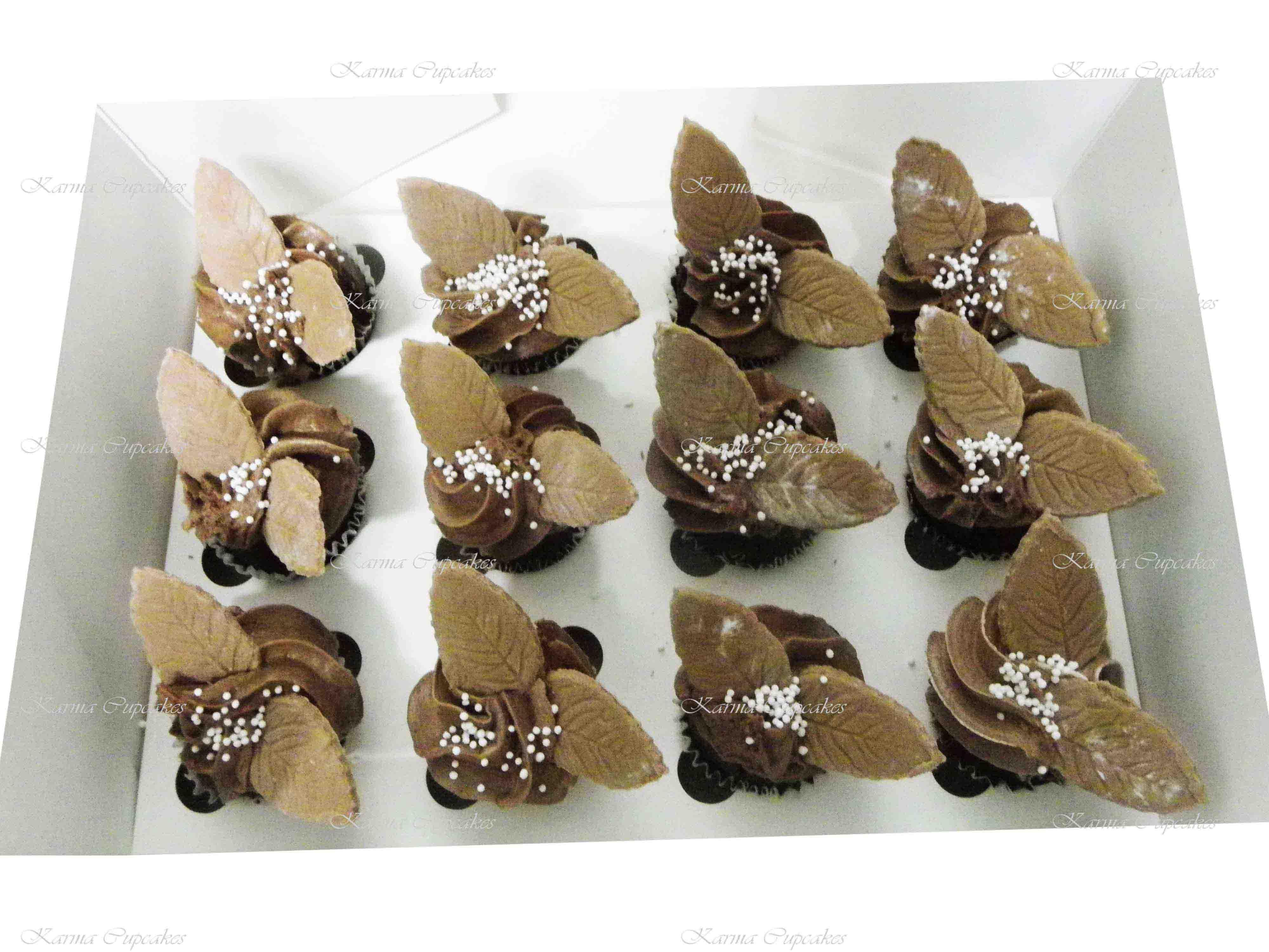 Vegan Chocolate High Tea Cupcakes with leaves