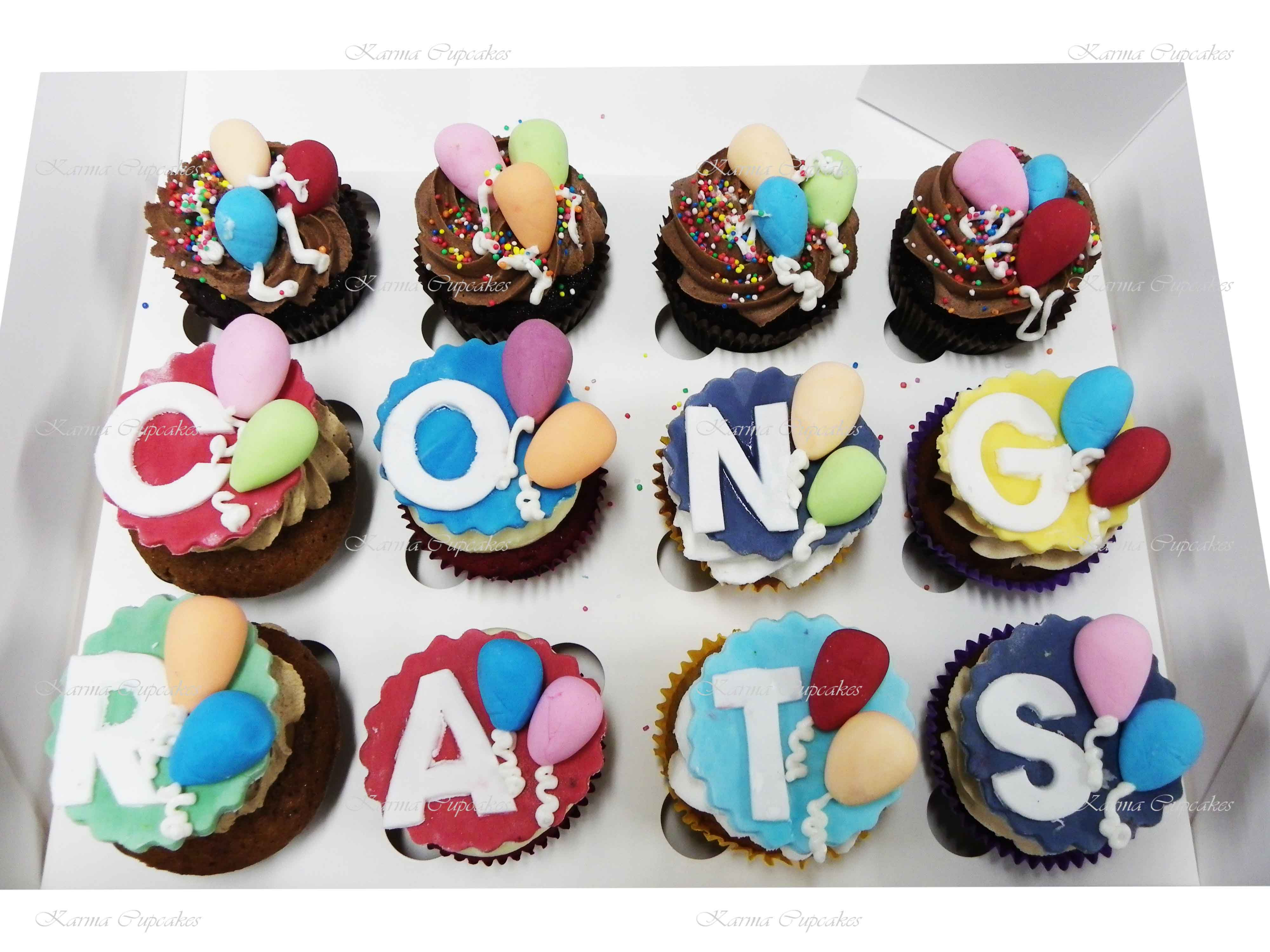 Personalised Cupcakes with Balloons - CONGRATS