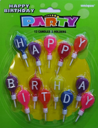 Happy Birthday Letter Balloon Candle and Holder Set