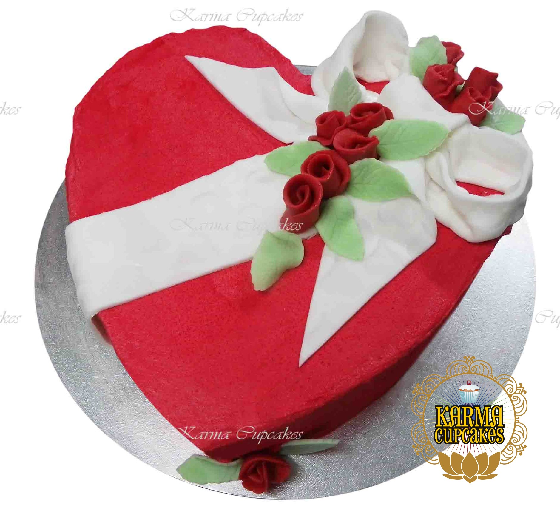 Heart Cake with Sugar Bow and Roses - choose your colour/s