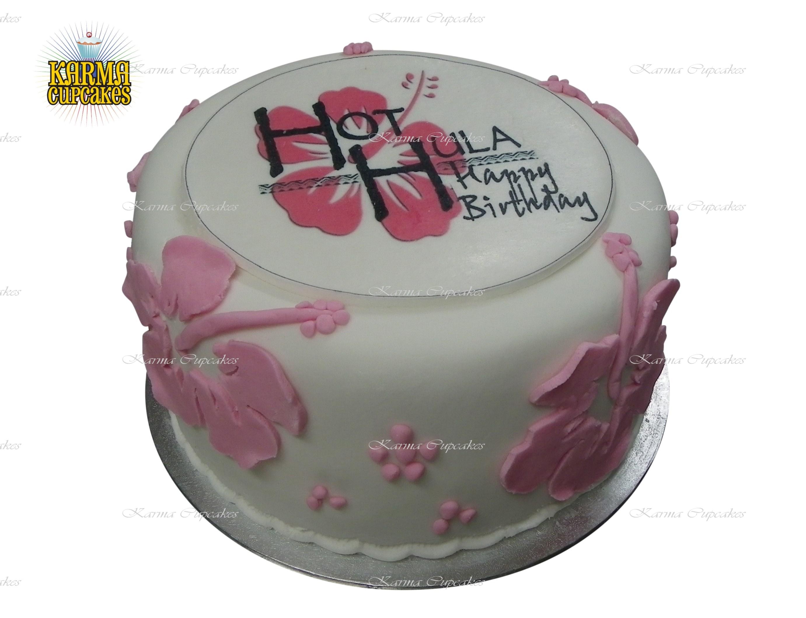 "8"" Hawaiian Themed Cake with Edible Image"