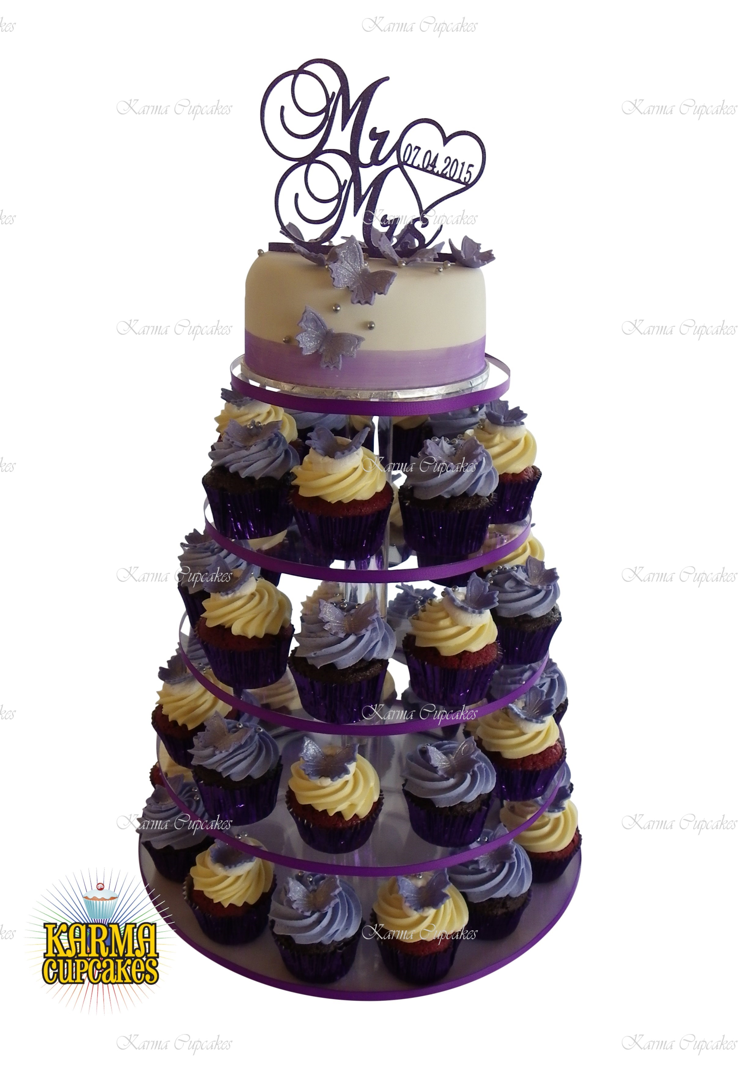 """Lavender Cupcake Tower with 6"""" Cake"""