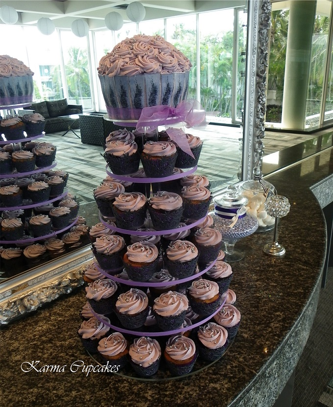 Lavender Wedding Cupcake Tower With Classic Rose Icing Swirls