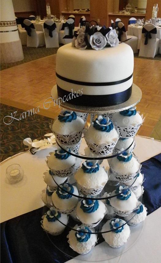 Navy Blue Vegan Wedding Cupcake Tower