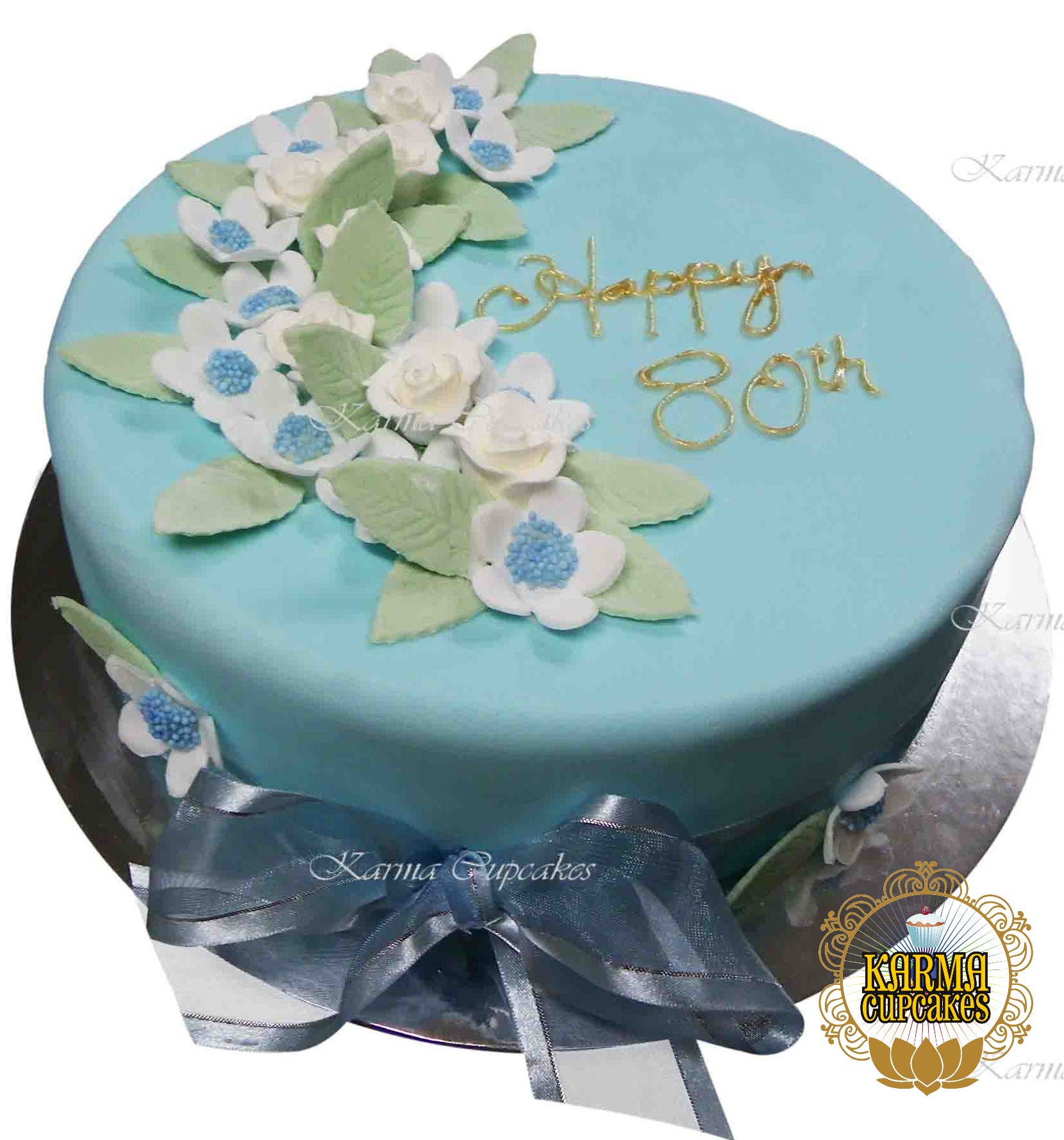 Birthday Cake with Edible Flowers & Leaves - Choose your colours
