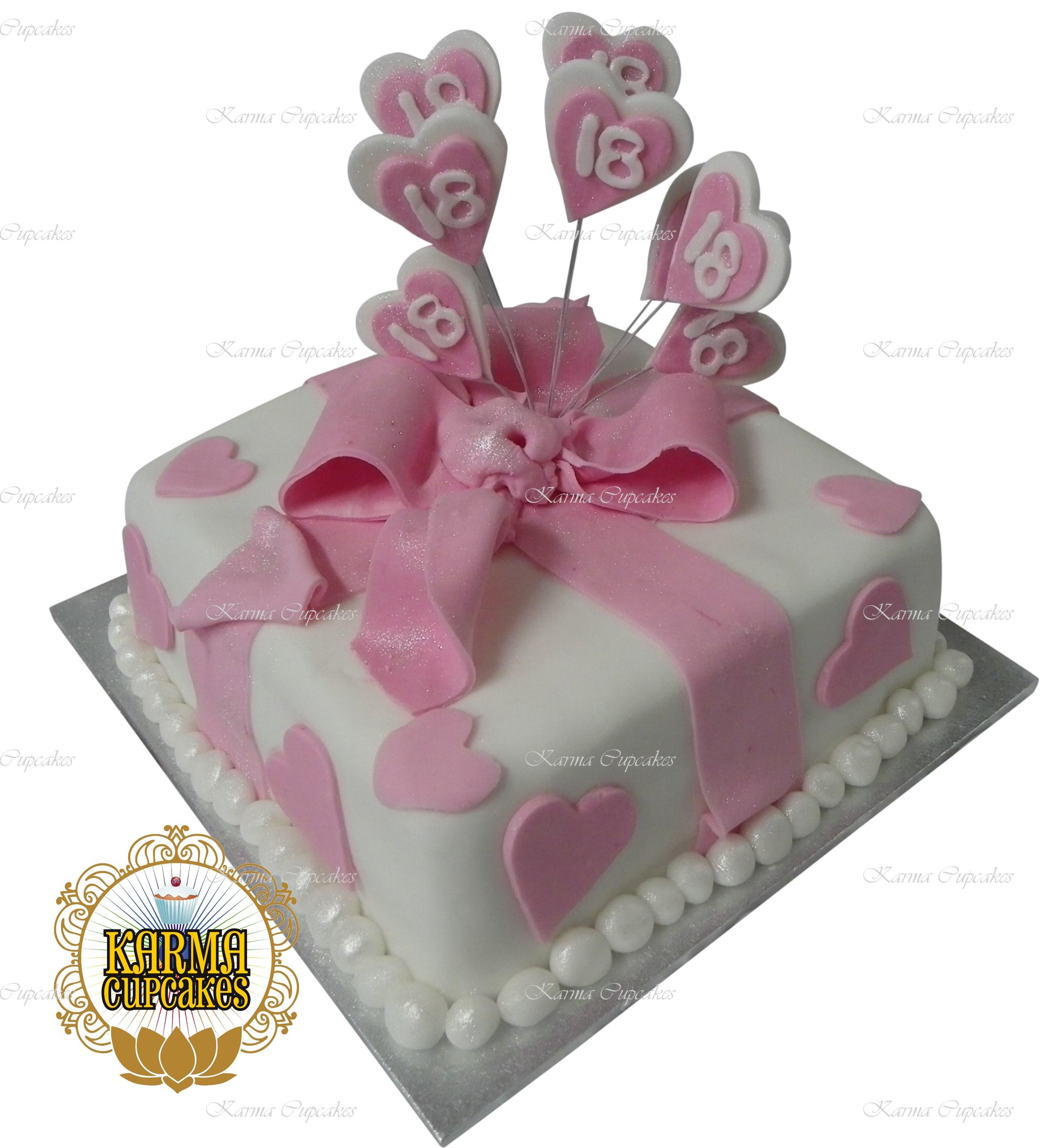 "Nicole's 8"" Pink NOT PURPLE Fondant Cake with Hearts"