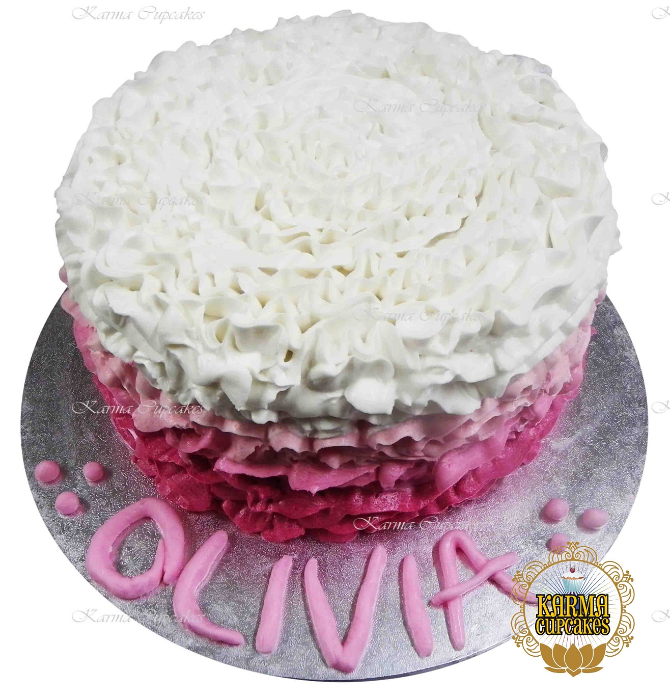"""8"""" Ombre Ruffle Buttercream Cake with Iced Name and Board - Choose your colour"""