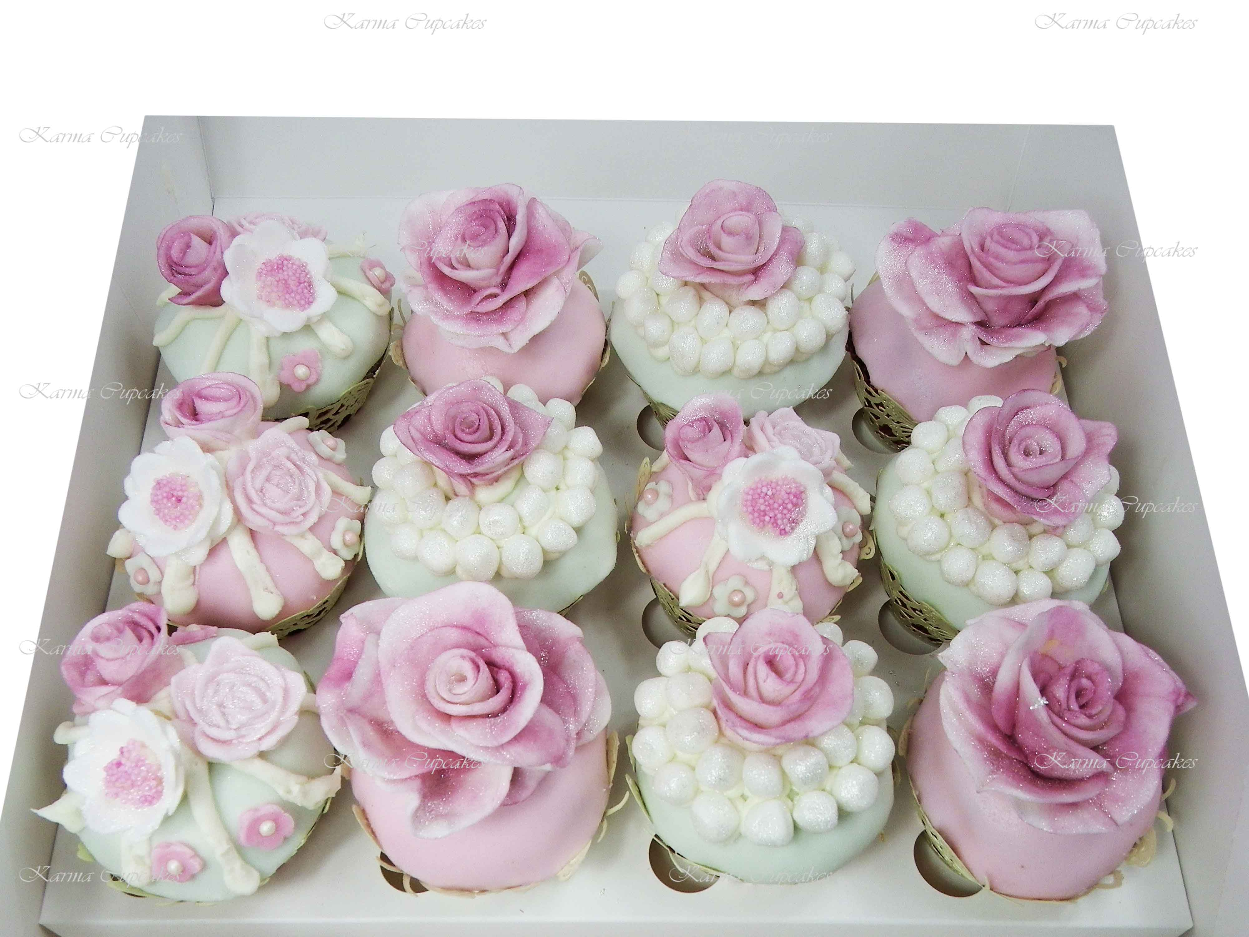 Handmade Roses with Pearls Cupcakes - Choose your colours