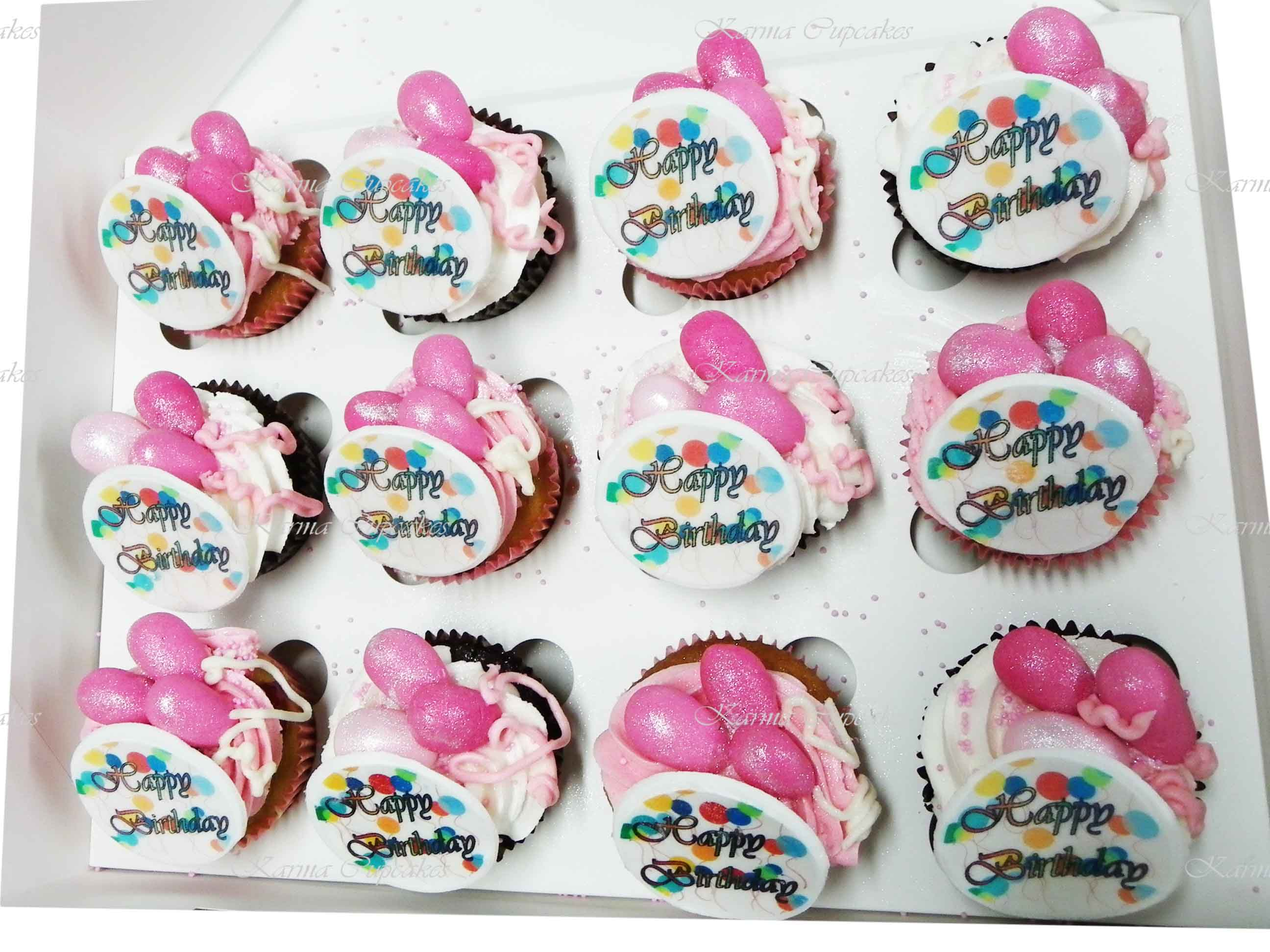 Birthday Cupcakes with Balloons and Edible Plague - Choose your colours