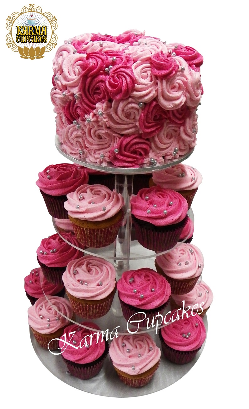 """6"""" Buttercream Rose Swirl Cake to top your Cupcake Tower - choose your colours"""