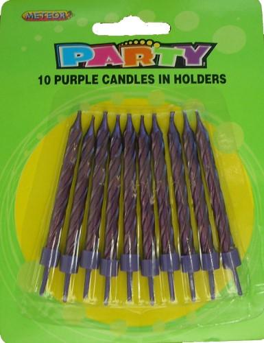 10 Purple Candle Set
