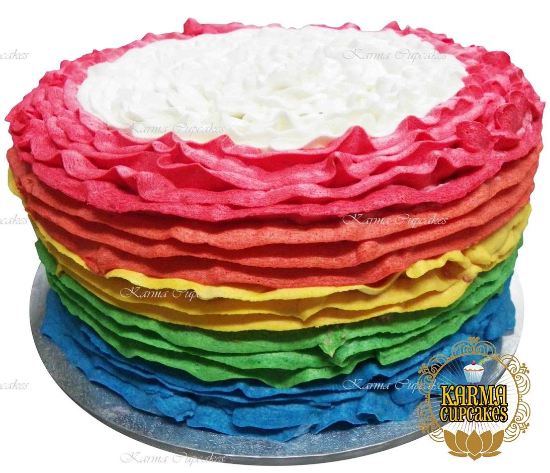 """8"""" Rainbow Ruffle Buttercream Cake"""