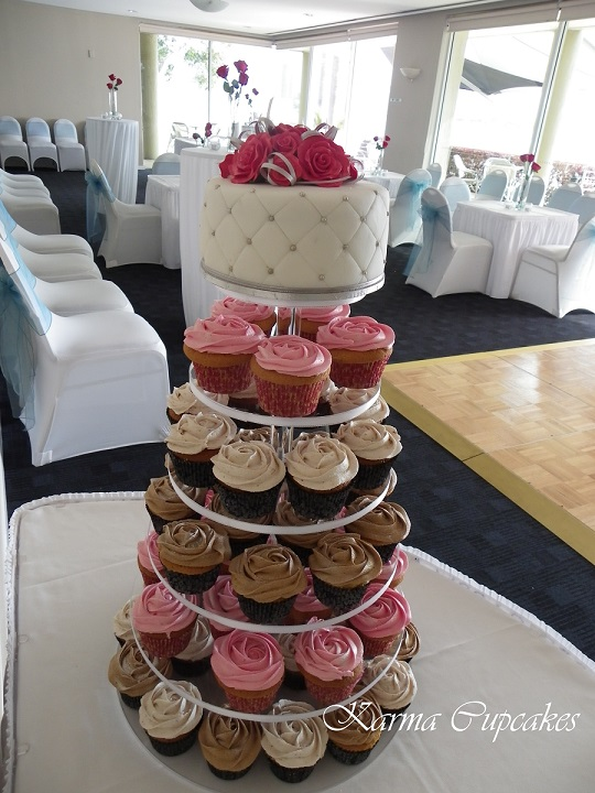 Elegant assorted wedding cupcake tower